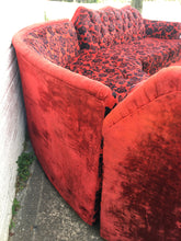Vintage velour curved sectional sofa • 1970s