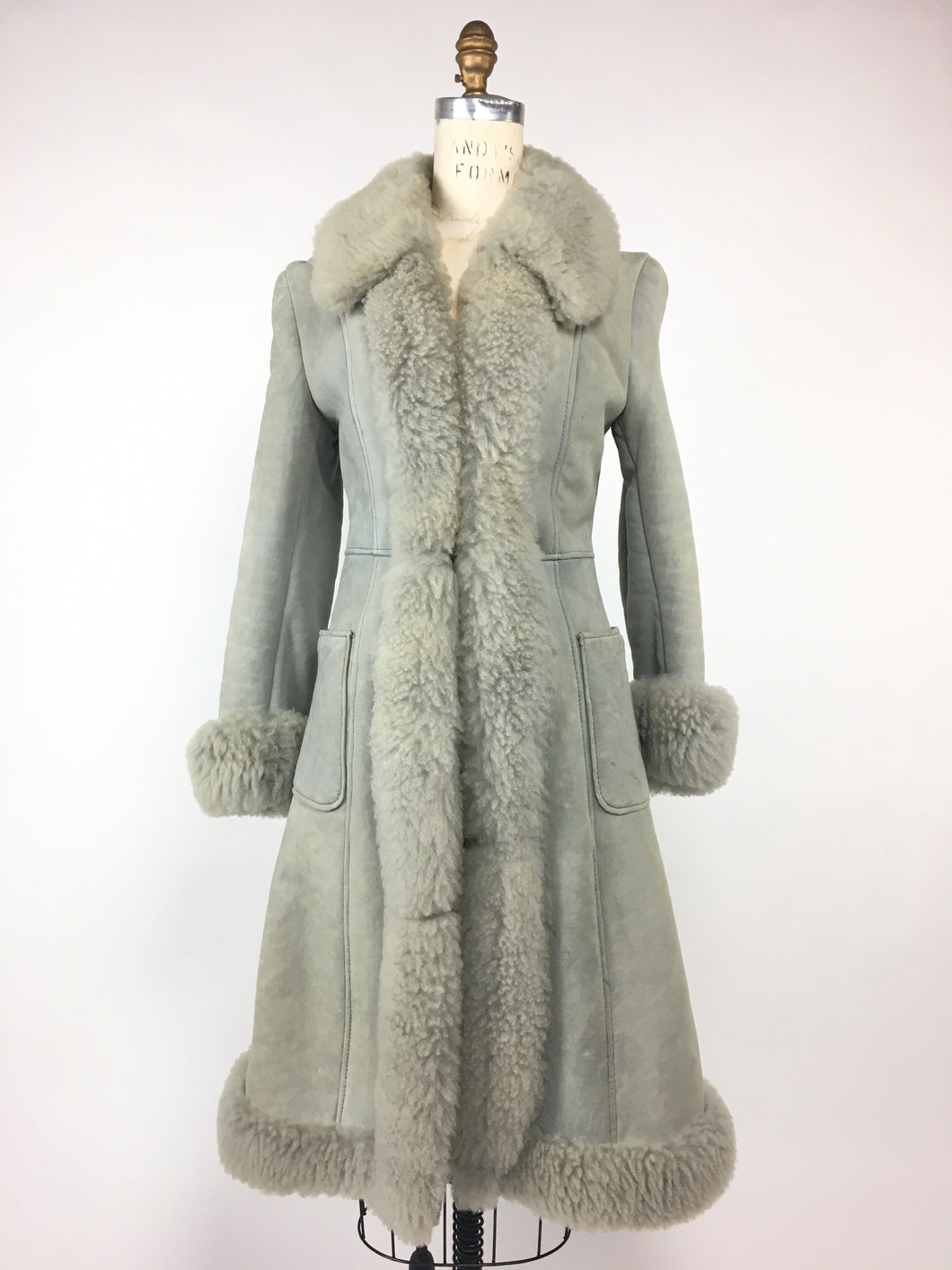 1960s Blue Princess Shearling Coat • XS