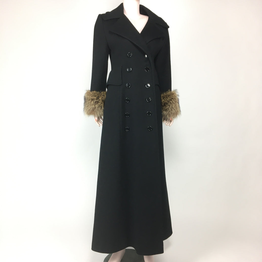 50s Princess Black Wool Fox Cuff Coat | Sm.