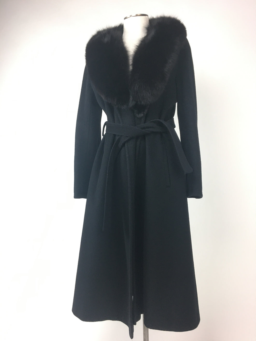 Black Wool Fox Collar Coat • Medium/Small