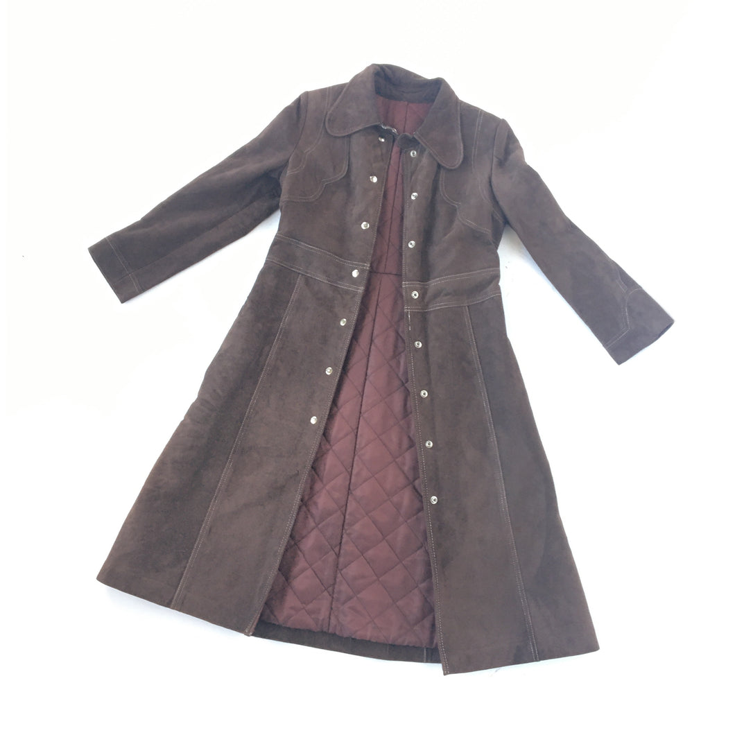 1970s brown suede coat • Small