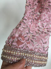 Pink Beaded Lace Shift Dress • small