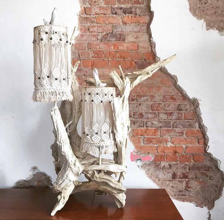 Driftwood & Macrame Table Lamp