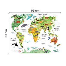 Cartoon Animals World Map Home Decal Wall Sticker for Kids Room