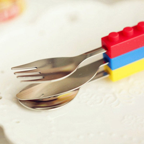Lego Themed Cutlery Set with a Knife, Fork and Spoon