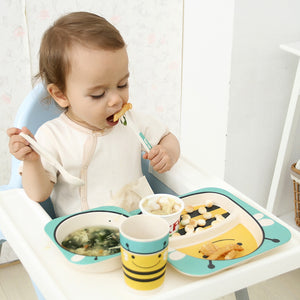 5pcs Bamboo Fiber Toddler Dinnerware Set