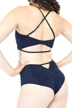 Load image into Gallery viewer, Navy Blue Suede Pole Outfit