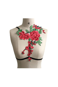 Diagonal Embroidered Rose Harness