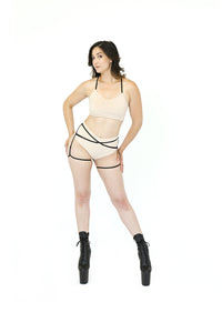 Nude Suede Pole Outfit with Garter