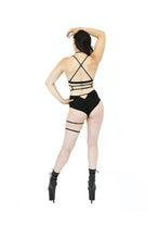 Load image into Gallery viewer, Black Suede Pole Outfit with Leg Garter and Top Harness