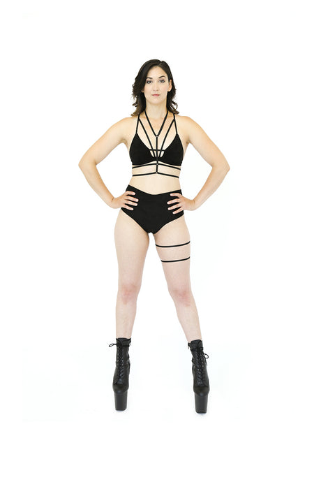 Black Suede Pole Outfit with Leg Garter and Top Harness