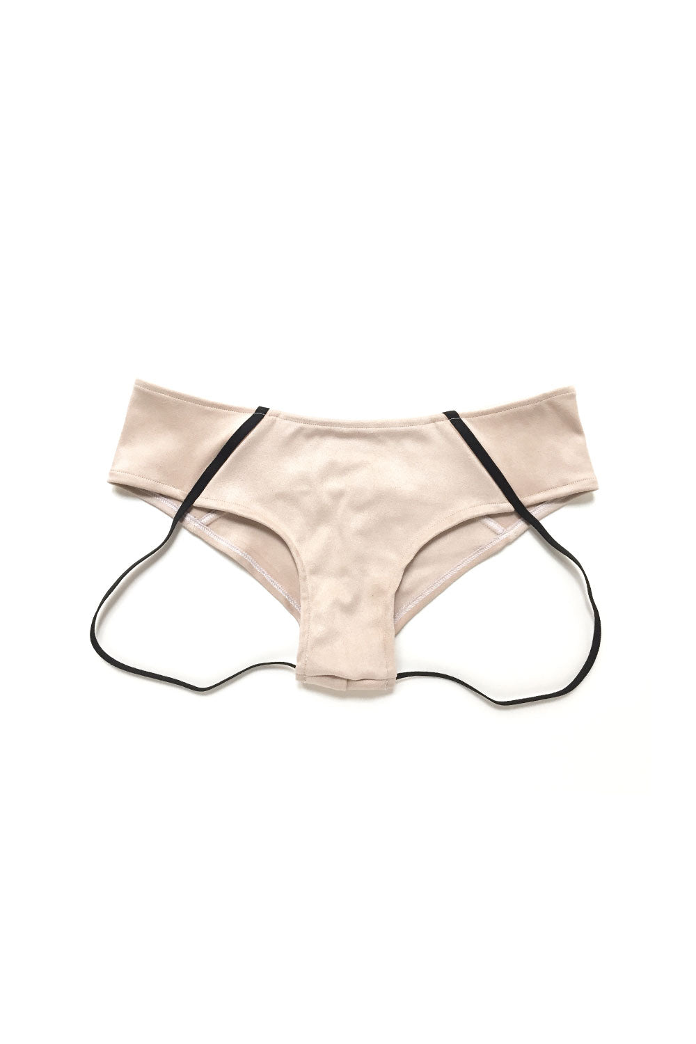 Nude Suede Pole Bottom Shorts with Garter