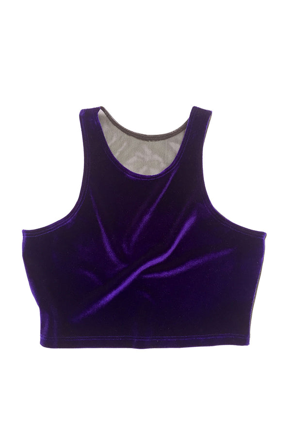 Purple Velvet Pole Crop Top