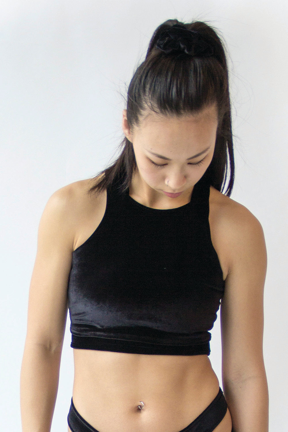 Black Velvet Pole Crop Top