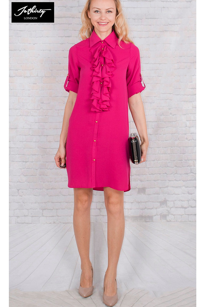 Pink Ruffle Front Dresses