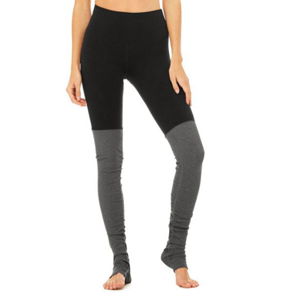 Alo Goddess Ribbed Leggings black and grey front