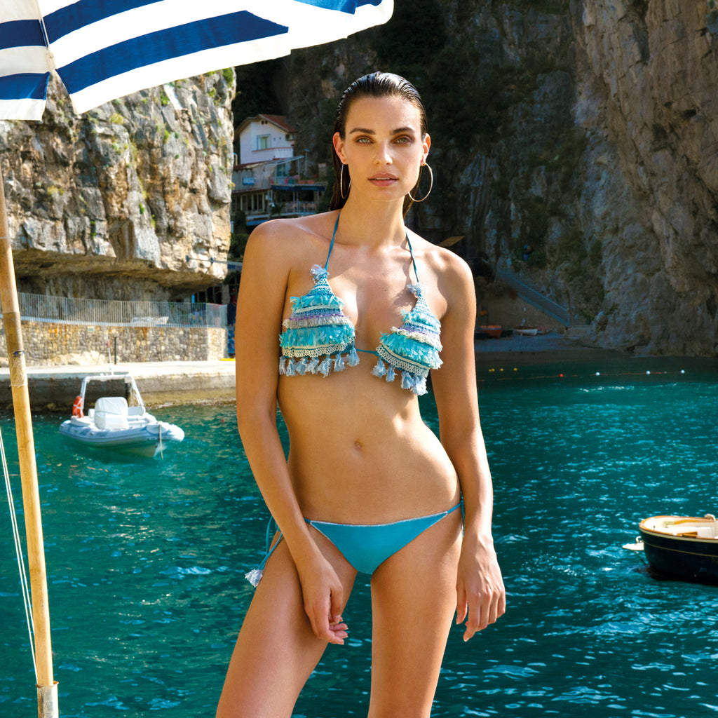 Chio Fringe & Embroidered Applique Bikini in blue