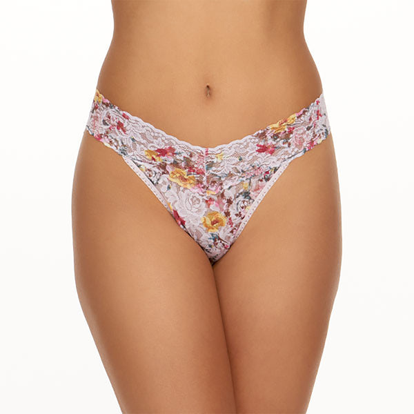 Hanky Panky Signature Lace Printed Original Rise Thong blanchefleur