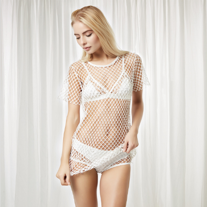 Bluebella Jamie Tshirt Fishnet White