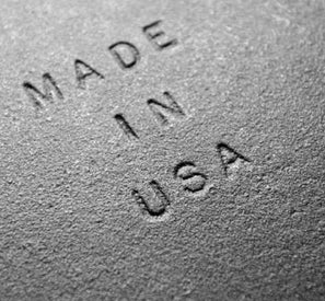 Made In USA stamped into a piece of steel where our brackets are made.
