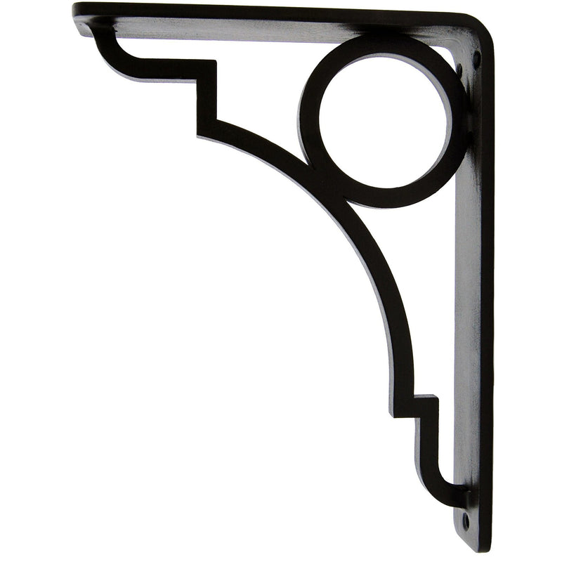 This is our Grant Iron Shelf Bracket with a black iron finish