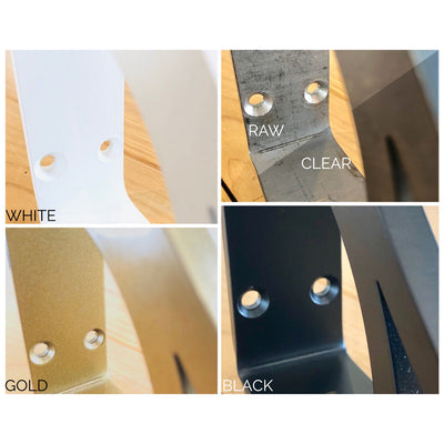 IMAGE OF METAL SHELF BRACKET FINISH OPTIONS FROM IRONSUPPORTS.COM