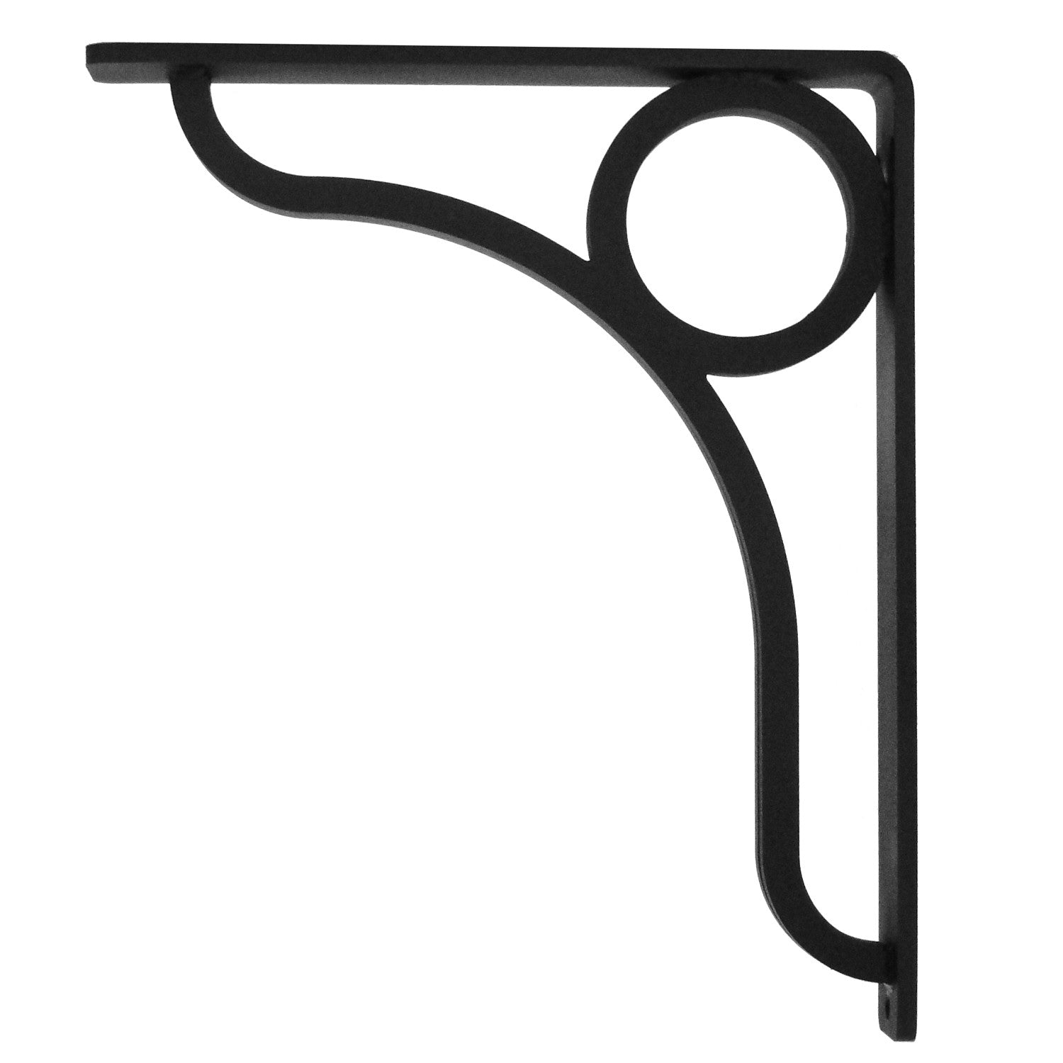 Pictured is the 1.5-inch Wide Lauren Iron Corbel with Black Iron Finish.