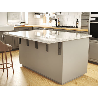 Standard front mount countertop L bracket installed on kitchen island and supporting a large granite countertop overhang.