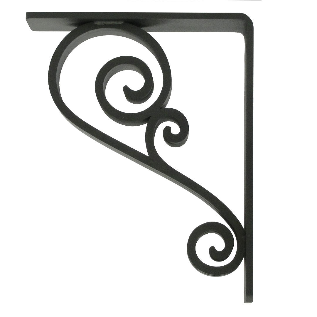 Pictured is our 1.5-inch wide Classic Scroll Iron Corbel with Black Iron Finish.
