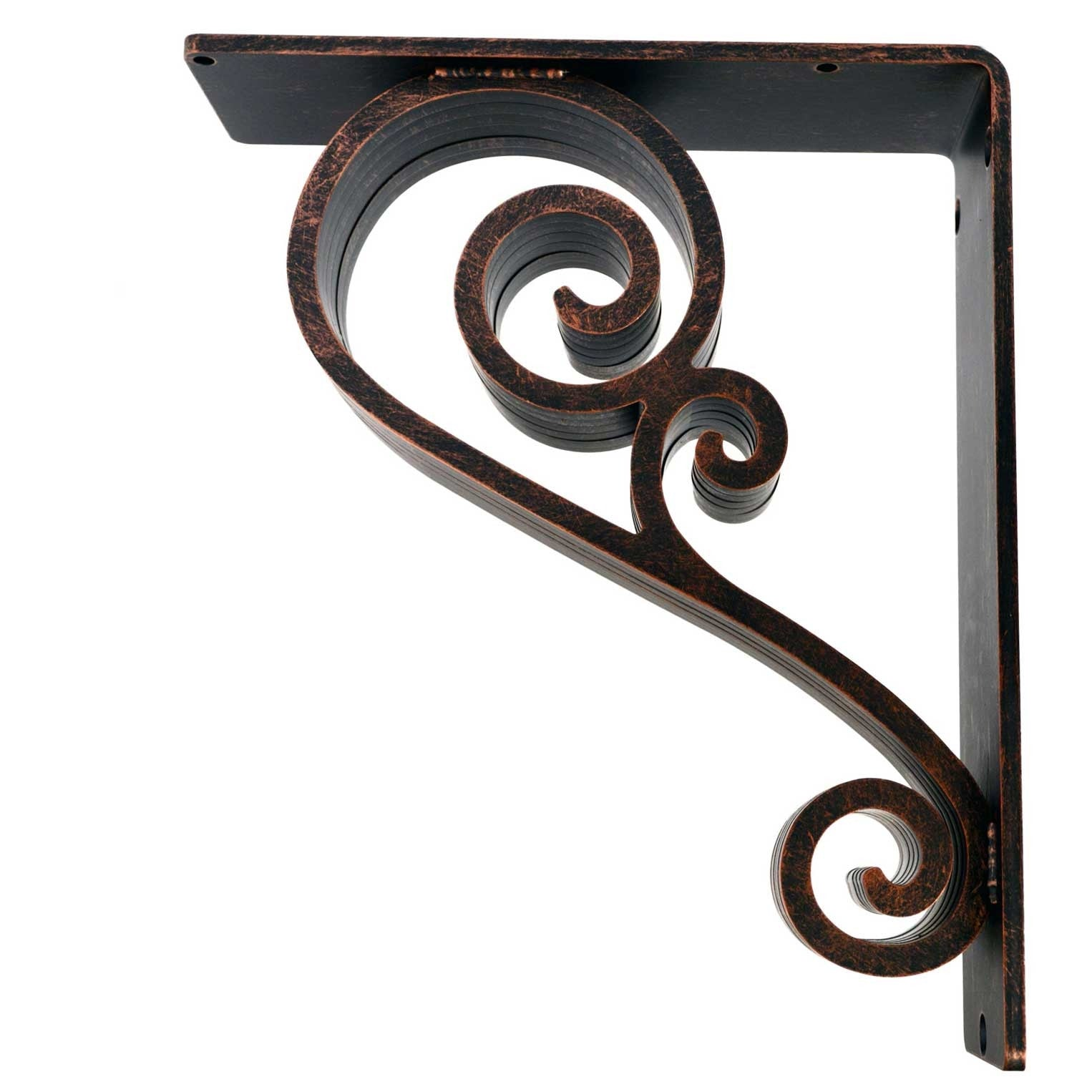 Pictured is the 3-inch wide 10x12 Classic Scroll Corbel with Aged Bronze Iron Finish