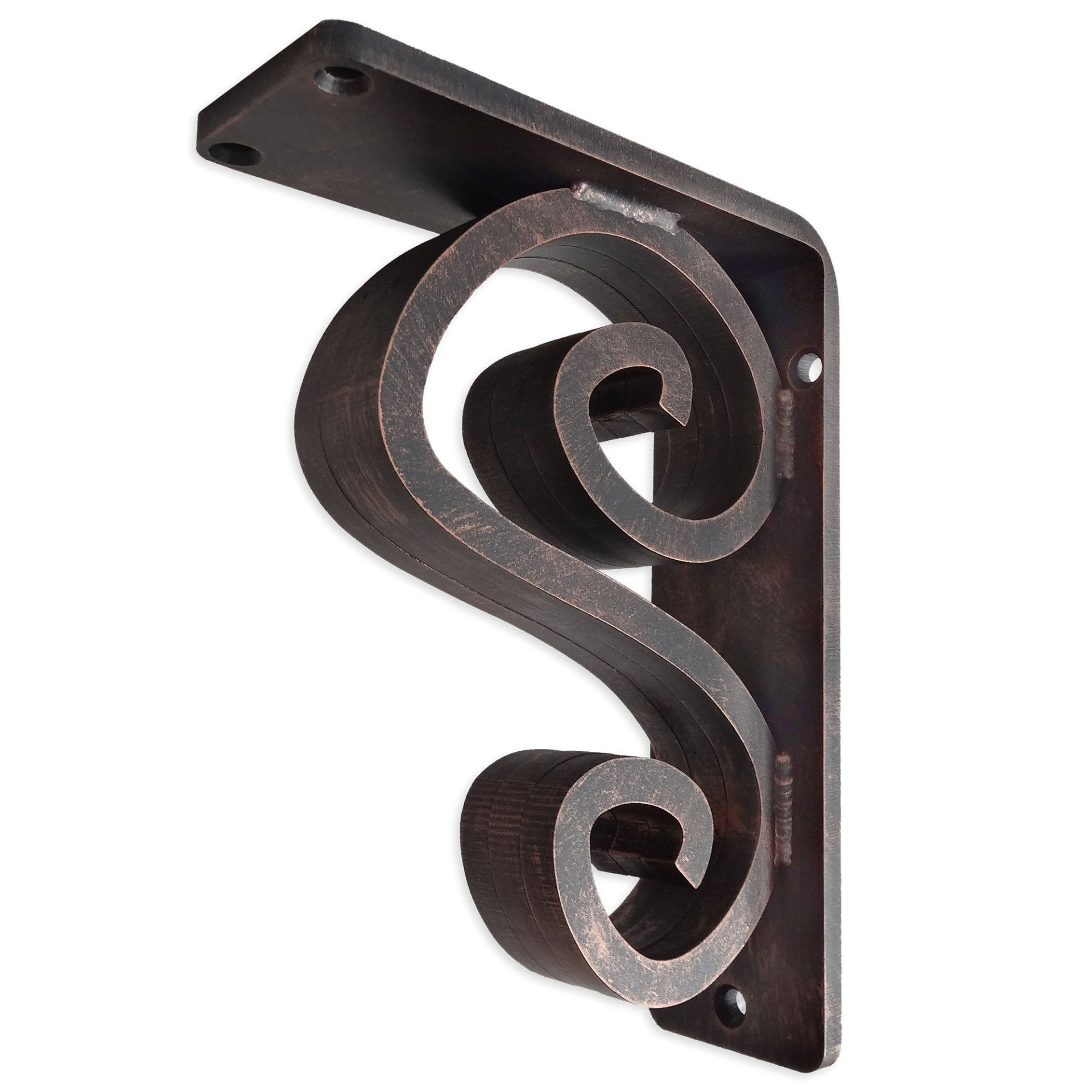This is our 2-inch wide Arts N Crafts Iron Corbel with Aged Bronze Iron Finish.
