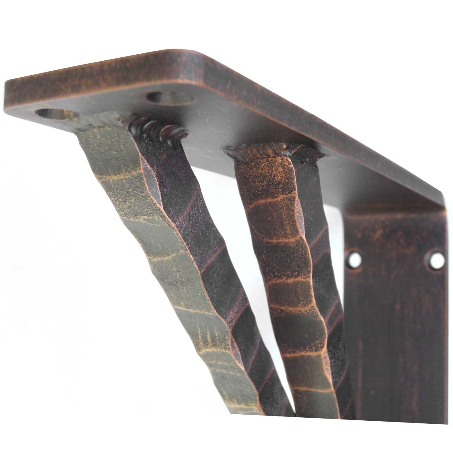 Pictured is the 2-inch wide hand-forged Torches Corbel with our aged bronze iron finish.