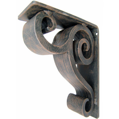 Pictured here is our solid 3-inch wide Linley Iron Corbel with old world finish.
