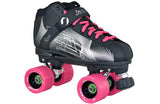 jackson rave black/silver indoor rink quad roller skate package with atom snap wheels