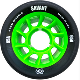 Atom Savant 95A 62x40 Quad Roller Skate wheels in black with bright green core