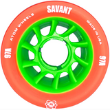 Atom Savant 97A 62x40 Quad Roller Skate wheels in orange with bright green core