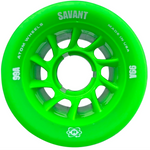 Atom Savant 99A 62x40 Quad Roller Skate wheels in bright green with bright green core