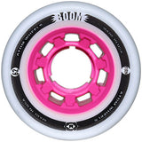 Atom Boom 62x44 Firm roller skate wheels featuring a pink solid core
