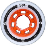 Atom Boom 62x44 Extra Firm roller skate wheels featuring an orange solid core