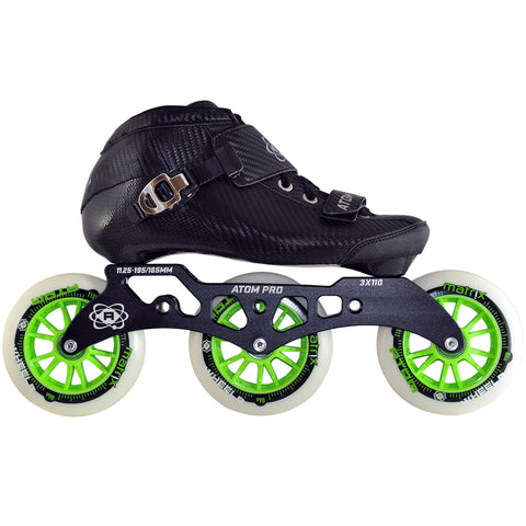 Atom Pro complete inline skate package featuring Atom Matrix wheels