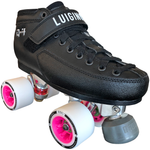 Luigino Q4 Derby quad skate boot with Falcon silver quad plate and Atom Boom 59x38 Quad wheels, perfect for derby roller skating