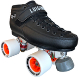Luigino Q4 quad skate boot with Falcon silver quad plate and Atom Boom 62x44 Quad wheels, perfect for indoor roller skating