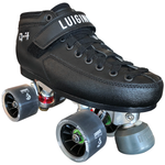 Luigino Q4 Derby quad skate boot with Falcon silver quad plate and Atom Poison Savant Quad wheels, perfect for derby roller skating
