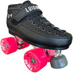 Luigino Q4 quad skate boot with Falcon silver quad plate and Atom Pulse Quad wheels, perfect for outdoor recreational roller skating