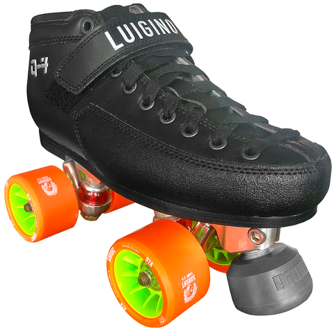 Luigino Q4 Falcon Indoor Quad Roller Skate Package with Atom Savant 62x40 Wheels