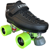 Luigino Q4 quad skate boot with Falcon silver quad plate and Atom Snap Quad wheels, perfect for indoor roller skating