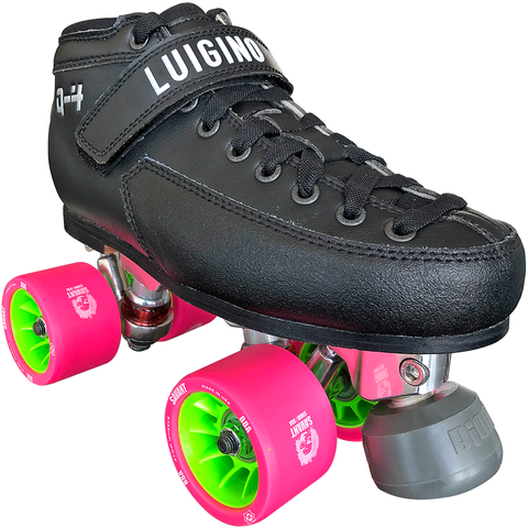 Luigino Q4 Viper Alloy Derby Quad Roller Skate Package with Atom Savant wheels