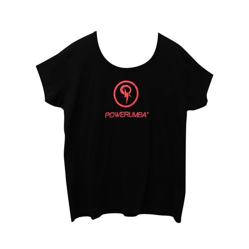 Black T-shirt with Neon Coral Logo