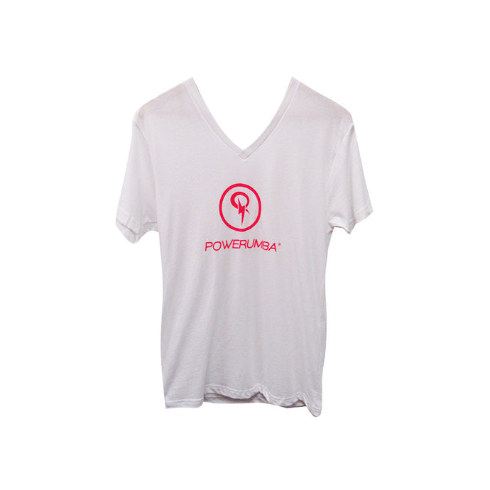 White T-Shirt with Pink Logo