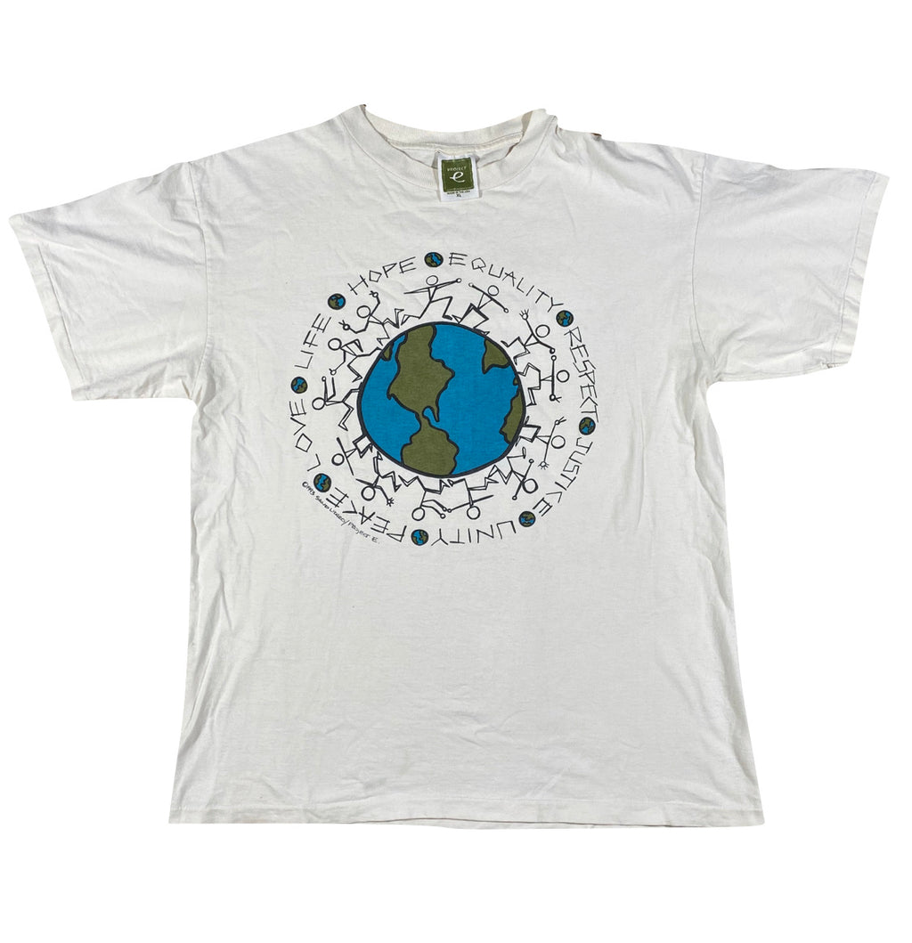 90s Justice. equality. unity. peace. earth tee. XL